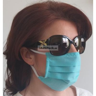Ochranné rúško na ústa 1ks - s gumičkou - bavlna (tyrkysové)