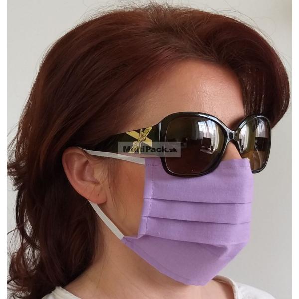 Ochranné rúško na ústa 1ks - s gumičkou - bavlna (fialové)