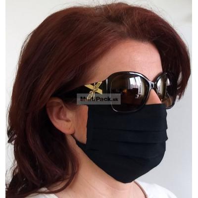 Ochranné rúško na ústa 1ks - s gumičkou - bavlna (čierne)